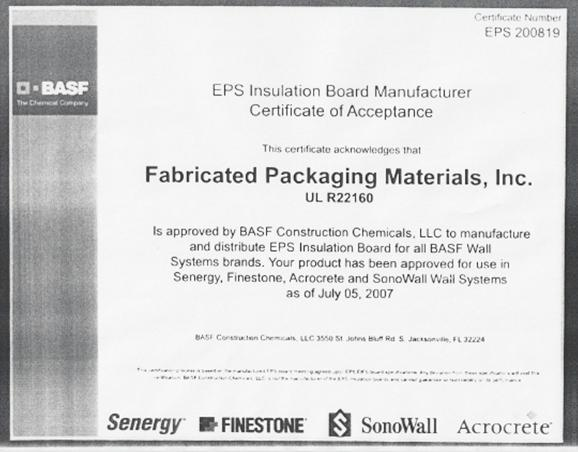 Fabricated Packaging Material, Inc  Exterior Insulation and
